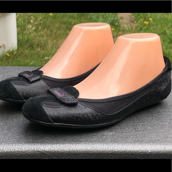 Puma Black Suede slip on Ballets Shoes Size 7.5